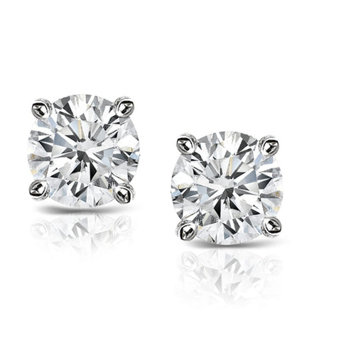 14k White Gold 0.16ct. TDW Solitaire Diamond Stud Earrings (K-L,I2-I3)