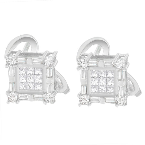 14K White Gold 1ct TDW Princess, Baguette and Round Cut Diamond Earring (H-I,SI1-SI2)