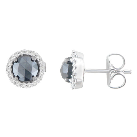 14K White Gold 1 1/2 CTTW Round and Black Rose-Cut Diamond Stud Earrings (H-I, I2-I3)