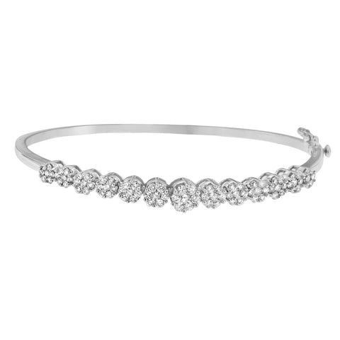 14K White Gold 2.60ct. TDW Round Cut Diamond Floral-Inspired Bangle (H-I,SI1-SI2)