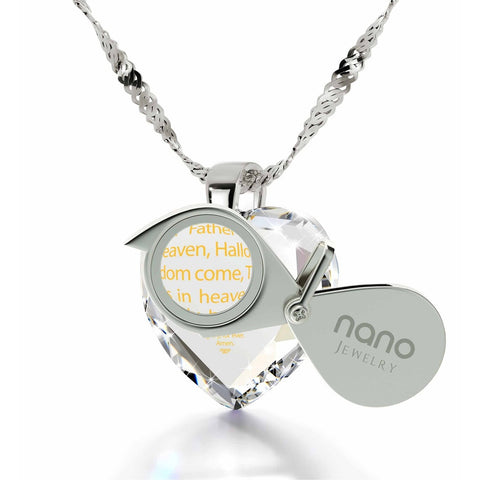 """The Lord's Prayer"" KJ Version, 925 Sterling Silver Necklace, Cubic Zirconia"