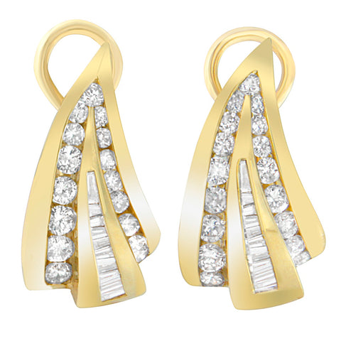 14K Yellow Gold 2.26 ct. TDW Round and Baguette Cut Diamond Earrings (I-J,SI1-I2)
