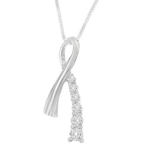 14K White Gold 0.25 CTTW Princess Cut Diamond Ribbon Loop Pendant Necklace (H-I, I2-I3)