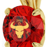 Taurus Sign, 14k Gold Necklace, Swarovski