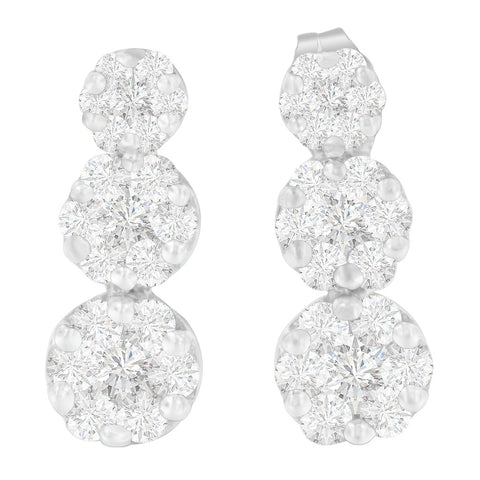 14K White Gold 1 1/2 ct. TDW Round-cut Diamond Earrings (H-I,SI2-I1)