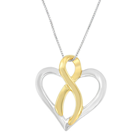 14k Yellow Gold and Sterling Silver Heart Bow Pendant Necklace