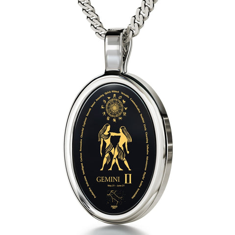 The World of Gemini, 925 Sterling Silver Necklace, Onyx