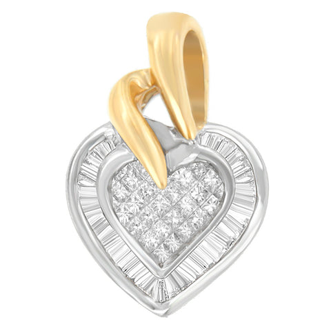 10K Two-Tone 1/2 CTTW Baguette and Princess Cut Diamond Love is Golden Halo Pendant Necklace (H-I, I1-I2)