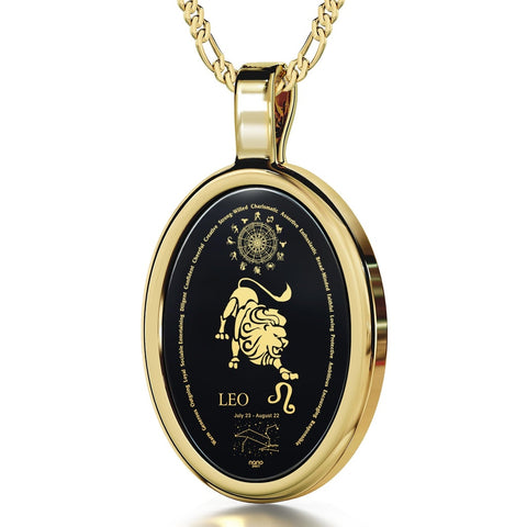 The World of Leo, 24k Gold Plated Necklace, Onyx