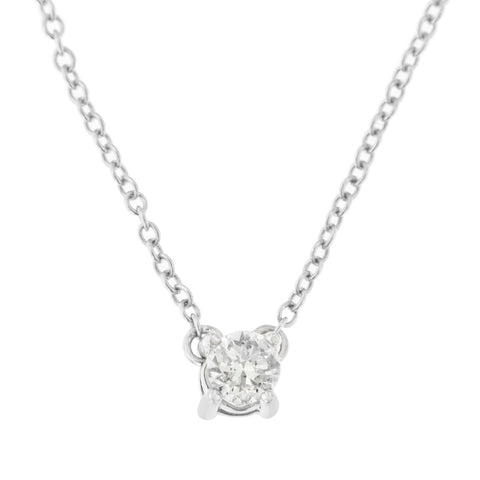 10k White Gold .20ct TDW Solitaire Round-Cut Diamond Certified Pendant Necklace (H-I, SI2-SI3)