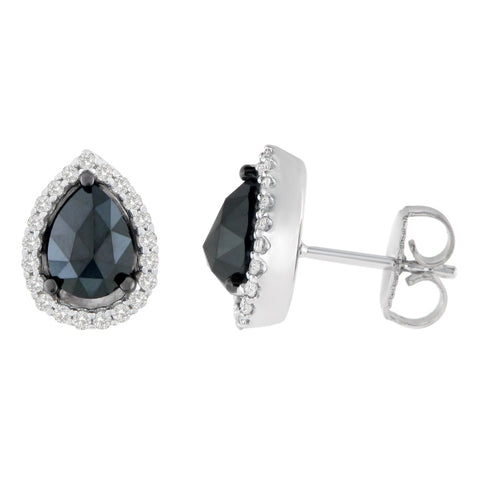 14K White Gold 2 1/4 CTTW Round and Pear-Cut Black Diamond Stud Earrings (H-I, I2-I3)