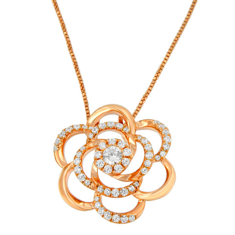 10k Rose Gold Plated Necklace with Round Cut Diamond