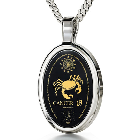 The World of Cancer, 14k White Gold Necklace, Onyx
