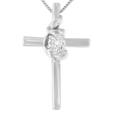 Espira Sterling Silver 1/10ct. TDW Round-Cut Diamond Pendant Necklace (H-I,SI2-I1)