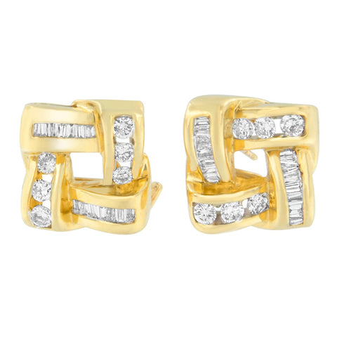 14K Yellow Gold 1 3/4ct. TDW Round and Baguette-cut Diamond Earrings (H-I,VS2-SI1)