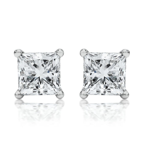 14K White Gold .50ct TDW Clarity Enhanced Princess-Cut Diamond Certified Stud Earrings (H-I, I1-I2)