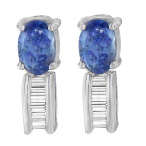 14K White Gold 1.16ct TDW Baguette-cut Diamonds and Tanzanite Earrings(G-H,SI2-I1)
