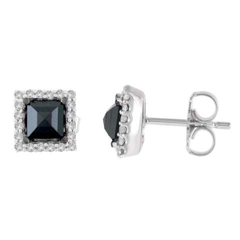 14K White Gold 1 1/4 CTTW Round and Black Princess-cut Diamond Stud Earrings (H-I, I2-I3)