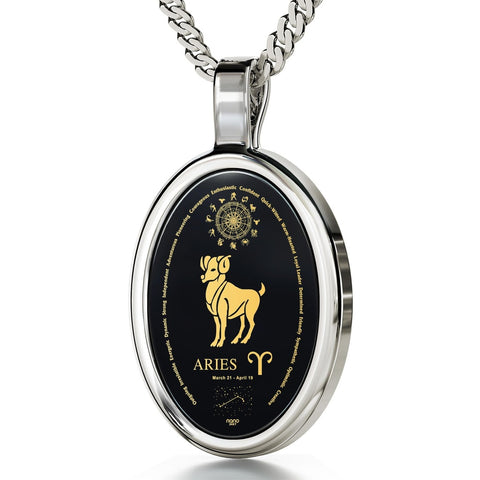The World of Aries, 14k White Gold Necklace, Onyx