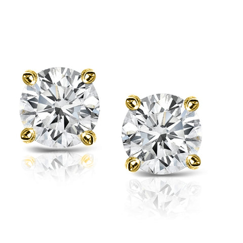10k Yellow Gold-Plated Sterling Silver 1/2ct TDW Diamond Certified Stud Earrings (H-I, I2-I3)