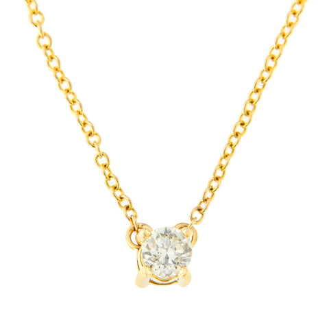 10k Yellow Gold .20ct TDW Solitaire Round-Cut Diamond Certified Pendant Necklace (H-I, SI2-SI3)