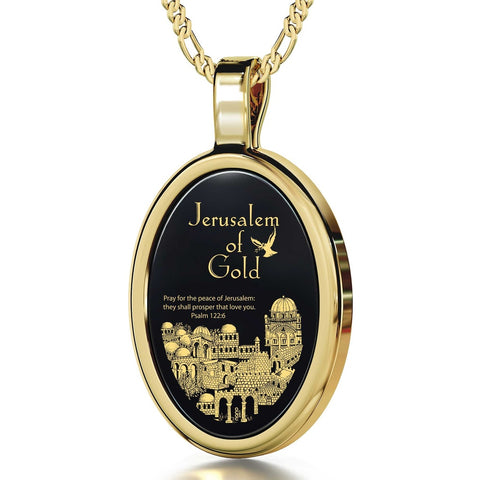 Jerusalem of Gold, 14k Gold Necklace, Onyx