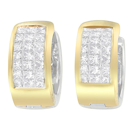 14K Two Toned 1ct. TDW Round And Princess-cut Diamond Earrings (H-I,SI1-SI2)