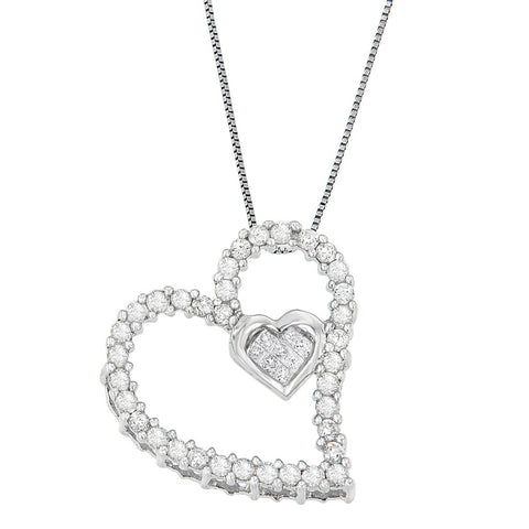 14k White Gold 1/2ct TDW Round and Princess Heart Diamond Pendant Necklace (H-I, I1-I2)