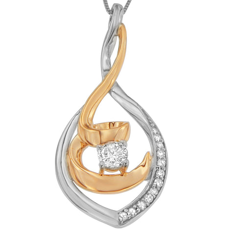 Espira 10K Two-Tone Gold 1/4 CTTW Round Cut Diamond Spiral Link Pendant Necklace (H-I, I2-I3)