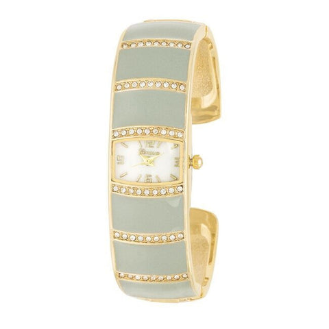 Gold and Grey Cuff Watch with CZ