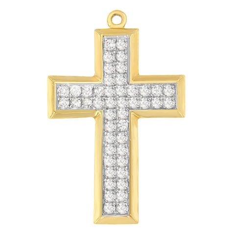 10K Yellow Gold 1 1/2 CTTW Round Cut Diamond Filled Cross Pendant Necklace (I-J, I1-I2)