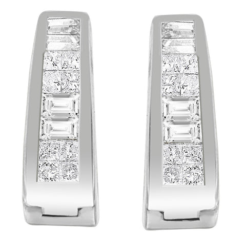 14k White Gold 1/2ct TDW Princess and Baguette-cut Diamond Long Hoop Earrings (I-J,VS1-VS2)