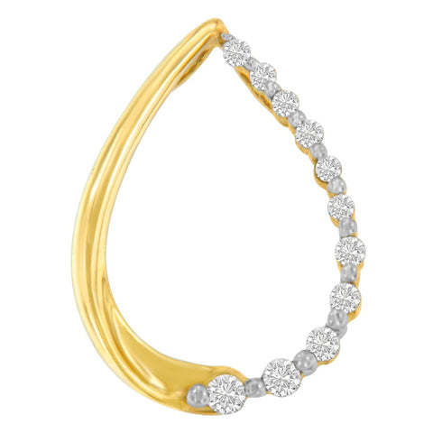 10k Yellow Gold 0.1 CTTW Round Cut Diamond Tear Drop Pendant Necklace (H-I, I1-I2)