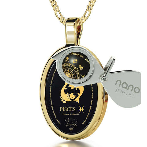 The World of Pisces, 24k Gold Plated Necklace, Onyx