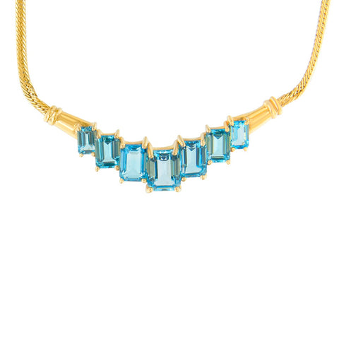 14k Yellow Gold Treated Blue Topaz Fashion Pendant Necklace
