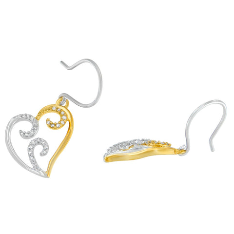 10k Two-tone Gold 1/4ct TDW Round Diamond Heart Dangle Earrings (I-J, I2-I3)