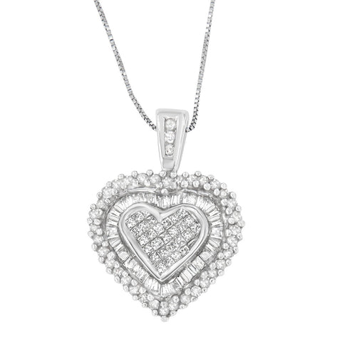 10k White Gold 1ct TDW Multi-cut 1ct TDW Diamond Heart Pendant Necklace (H-I, I1-I2)