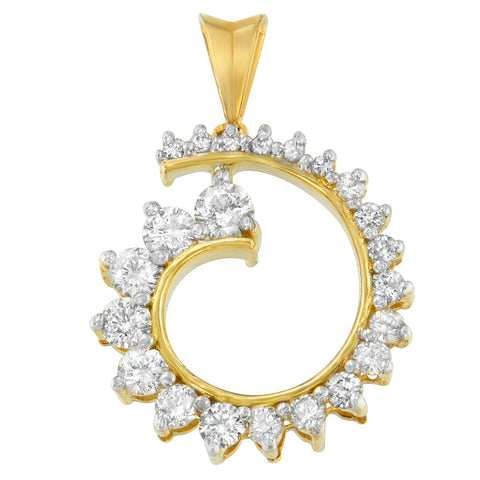 10K Yellow Gold 1 CTTW Round Cut Diamond Curve Pendant Necklace (H-I, I1-I2)