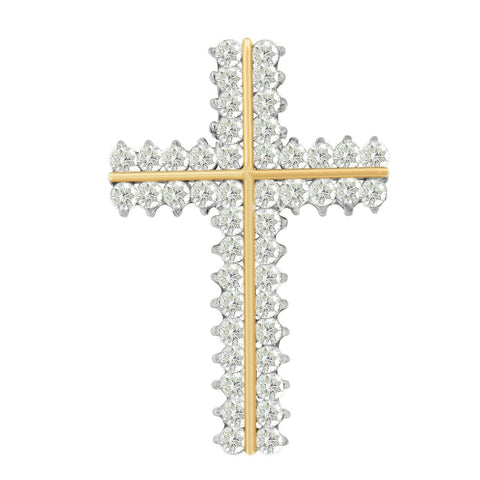 10K Yellow Gold 4 CTTW Round Cut Diamond Cross Pendant Necklace (I-J, I1-I2)