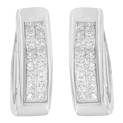 14k White Gold 1 1/10ct TDW Princess-cut Diamond Hoop Earrings (H-I,SI2-I1)