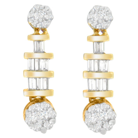 14K Yellow Gold 3/4ct. TDW Round and Baguette-cut Diamond Earrings(H-I,SI1-SI2)