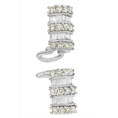 14k White Gold 1 1/4ct TDW Round and Baguette Cut Diamond Earrings (H-I,SI2-I1)