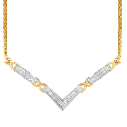 14K Two-Toned Gold 1 CTTW Princess Cut Diamond Pendant Necklace (H-I,SI2-I1)