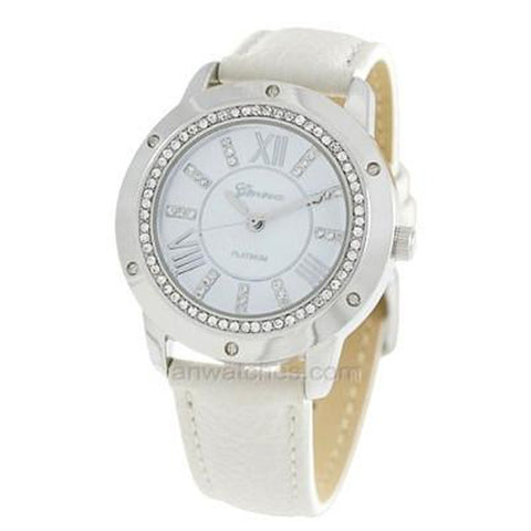 Crystal and Silver Face Leather Band Watch - White