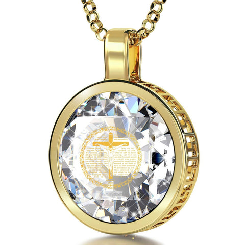 Matthew 27, 24k Gold Plated Necklace, Cubic Zirconia