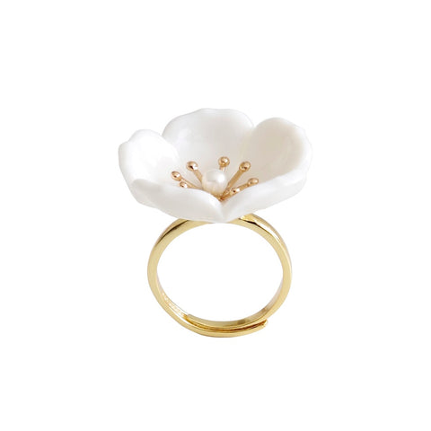 Snow-White Porcelain Plum Blossom Ring