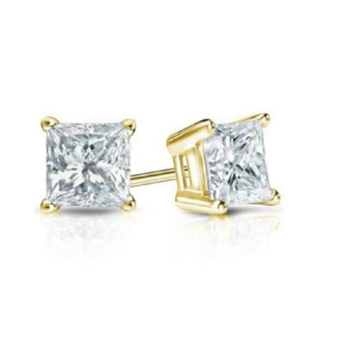 14K Yellow Gold 1/2ct. TDW Princess-cut Diamond Earrings(J-K,SI2-I1)
