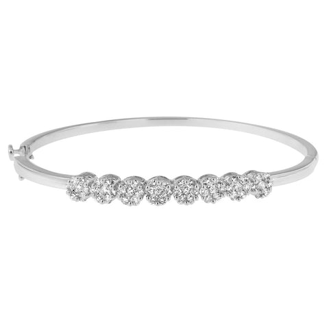 14K White Gold 1 7/8 ct. TDW Round Cut Diamond Floral Bangle (H-I, SI1-SI2)