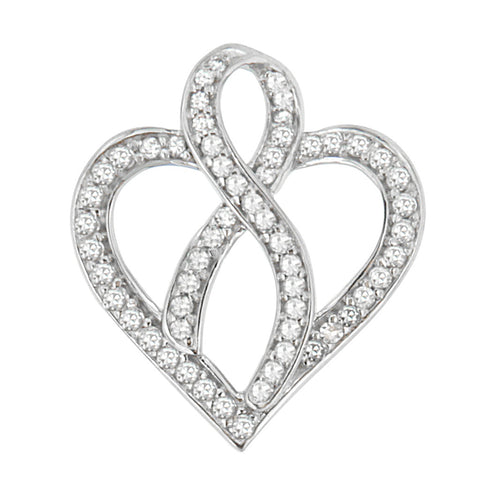 14k White Gold 1/4 CTTW Round Cut Diamond Heart and Ribbon Center Pendant Necklace (H-I, I1-I2)