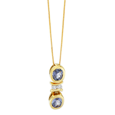 14K Yellow Gold .80ct TDW Baguette-cut Diamonds and Tanzanite Pendant Necklace(G-H,SI2-I1)